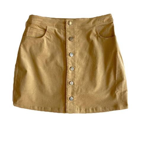 Camel Corduroy Mini Skirt