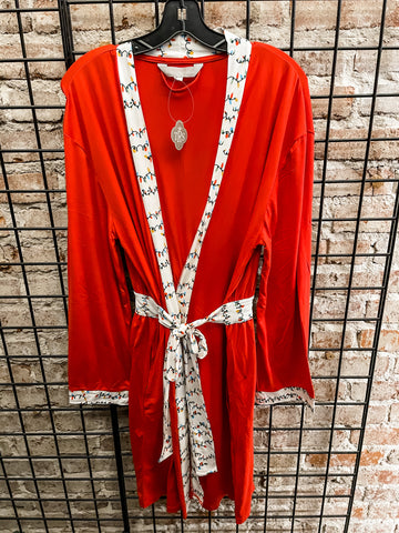 Merry and Bright Robe Red/White/Green (Women's)
