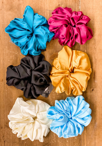 Oversized Solid Satin Scrunchies