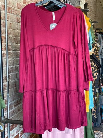 Crimson Ruffle Knit Dress