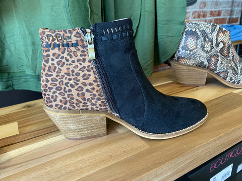 Black and Leopard Booties