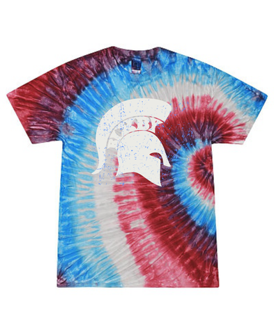 Red Grey and Blue Spartan Tie Dye Tee