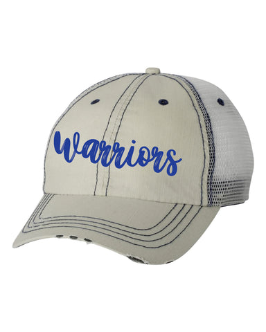Glenpool warriors distressed trucker hat
