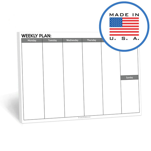 321Done Landscape Weekly Planning Notepad - 50 Sheets (8.5 x 5.5 Inches) - Days of Week Planner Pad, Made in USA - White Gray Plain - Blue Aspen Studio