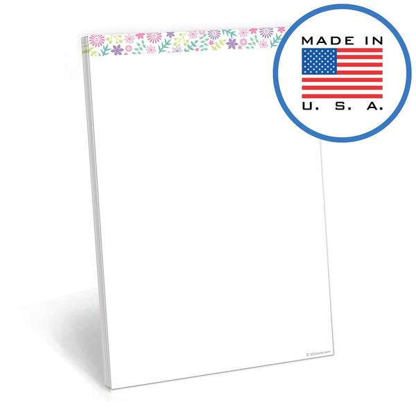 321Done 50 Sheet Blank Note Pad (5.5 x 8.5 Inches) - Writing Notepad - Thick Premium Paper - Made in USA - Pastel Flowers - Blue Aspen Studio