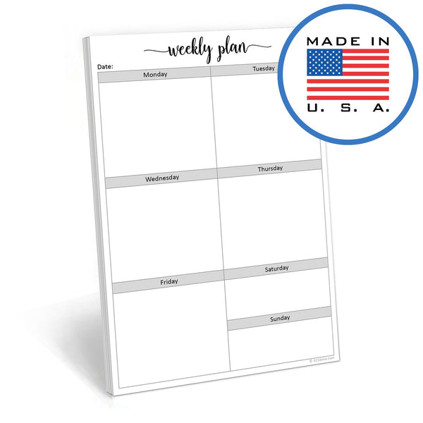 321Done Week at a Glance Notepad - 50 Sheets (5.5 x 8.5 inches) - Weekly Planner Pad Days of Week, Planning Organizing - Made in USA - Cute Script - Blue Aspen Studio