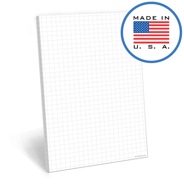 321Done Grid Note Pad - 50 Sheets (5.5 x 8.5 Inches) - Graph Writing Notepad - Thick Premium Paper - Made in USA - White - Blue Aspen Studio