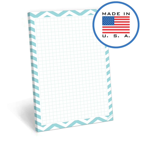 321Done Grid Note Pad - 50 Sheets (5.5 x 8.5 Inches) - Graph Writing Notepad - Thick Premium Paper - Made in USA - Teal Chevron - Blue Aspen Studio