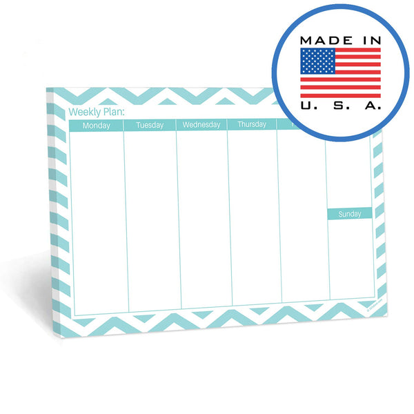 321Done Weekly Notepad Horizontal, 50 Sheets (8.5 x 5.5 Inches) Landscape Blank Glance Days of Week Planning Pad, Made in USA, Teal Chevron - Blue Aspen Studio