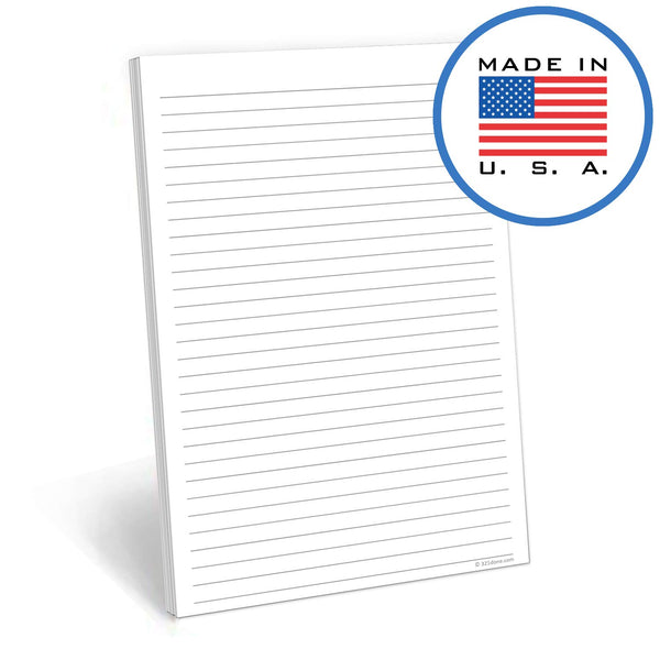 321Done Lined Notepad - 50 Sheets (5.5 x 8.5 Inches) - Writing Note Pad Lined - Thick Premium Paper - Made in USA - White - Blue Aspen Studio