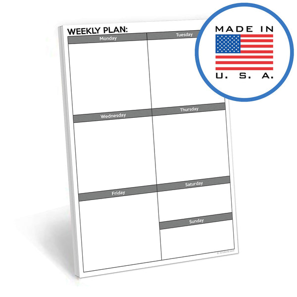 321Done Weekly Boxes Blank Notepad - 50 Sheets (5.5 x 8.5 Inches) - Days of Week Planning Pad, Made in USA - White Gray Plain - Blue Aspen Studio