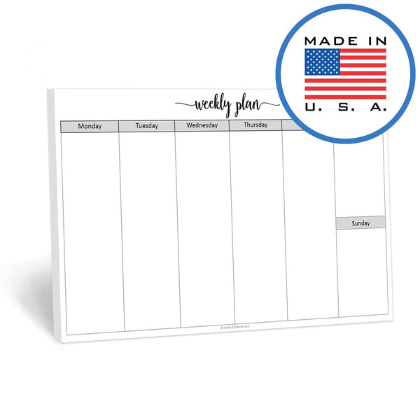 321Done Weekly Notepad Horizontal, 50 Sheets (8.5 x 5.5 Inches) Landscape Blank Glance Days of Week Planning Pad, Made in USA, Cute Script - Blue Aspen Studio