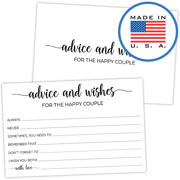 321Done Advice and Wishes for The Happy Couple Cards (Pack of 50) for Wedding with Prompts Simple Elegant - Made in USA, White - Blue Aspen Studio