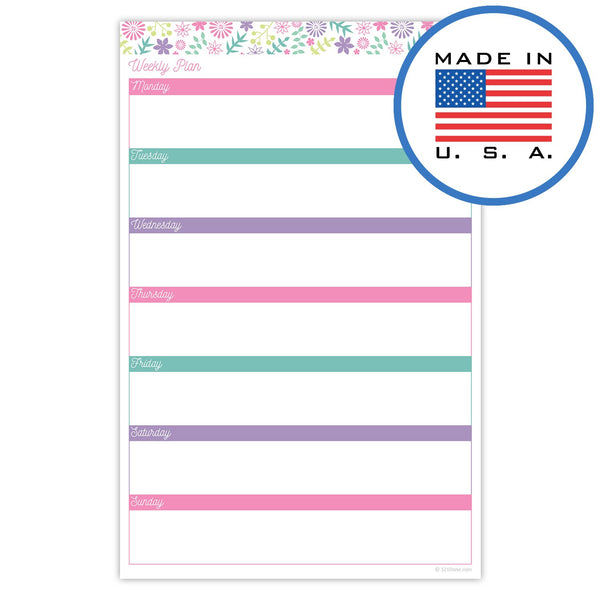 "321Done Weekly Planning Pad, Days of Week, Made in The USA, 50 Sheets (5.5"" x 8.5""), Planner Checklist Organizing Notepad, Floral Collage, Pastel - Blue Aspen Studio"