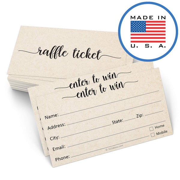 "321Done Raffle Tickets with Name Address Phone Email (50 Cards) 3.5"" x 2"", Enter to Win Entry Form for Contests, Drawings, Raffles, Lotteries Prize Game, Tan Kraft Color - Blue Aspen Studio"