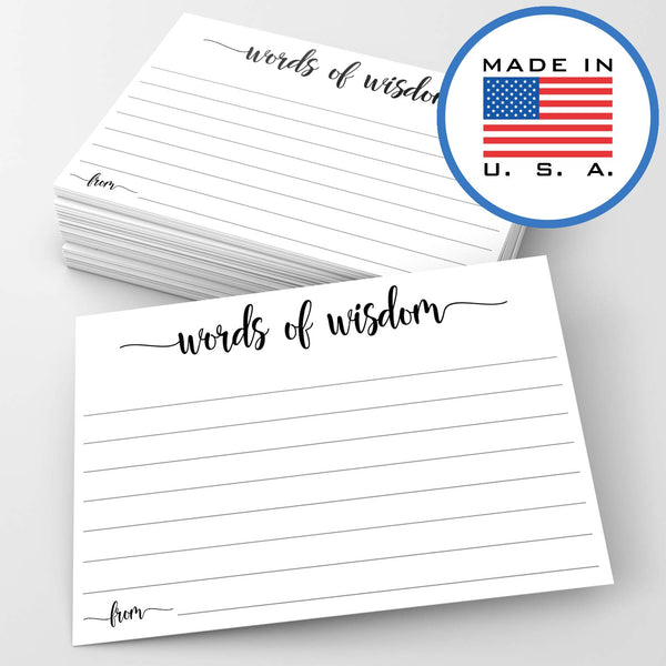 "321Done Words of Wisdom Card (50 Cards) 4"" x 6"" - Blank Advice Cards for Wedding Bridal Shower Baby Shower Mr and Mrs Bride and Groom Graduation - Made in USA - White - Blue Aspen Studio"