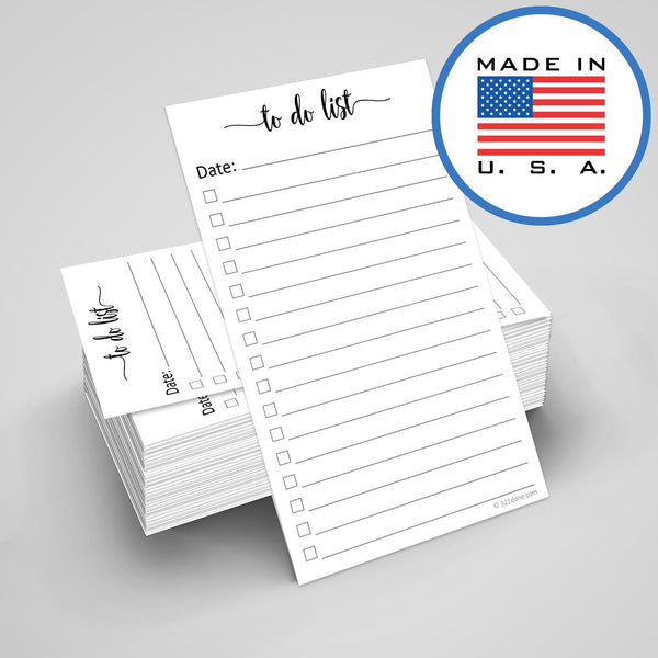 "321Done to Do List Cards 3"" x 5"" (Set of 100 Vertical Index Cards) Double-Sided Notecards with Date to-Do Checklist - Thick Card Stock - Made in The USA, Simple Script - Blue Aspen Studio"