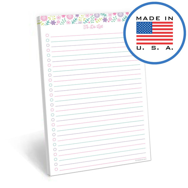 "321Done 50 Sheet to Do List Notepad, 5.5"" x 8.5"", Planner to-Do Checklist Organizing Tear Off Planner Pad, Made in The USA, Pastel Floral Collage - Blue Aspen Studio"