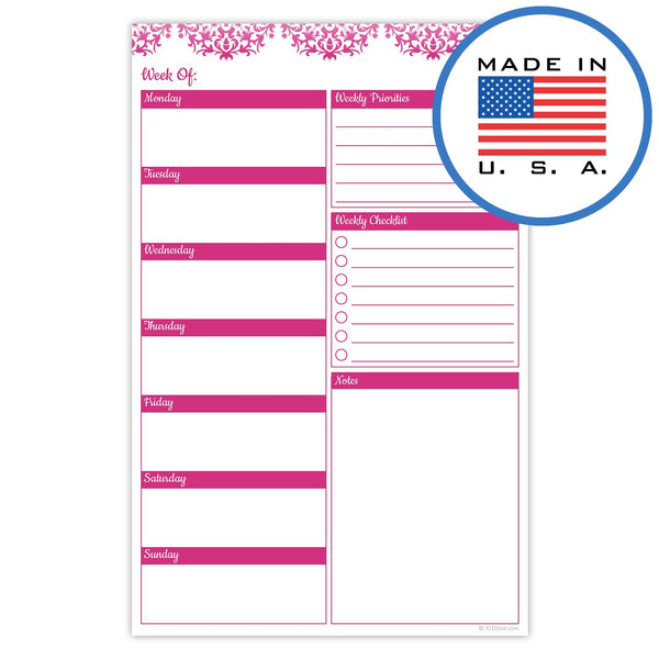"321Done Weekly Planner Pad, Made in The USA, 50 Sheets (5.5"" x 8.5""), Week Priorities Planning to Do List Checklist Tear Off Notepad, Floral Lace Fuchsia - Blue Aspen Studio"