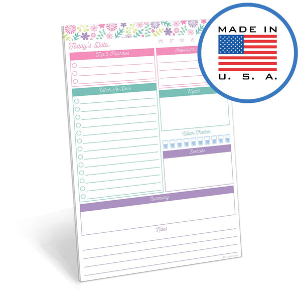"321Done Daily Planner Notepad, to Do List Planning, Made in The USA, 50 Sheets (5.5"" x 8.5""), Day Journal to-Do Checklist Tear Off Paper Note Pad, Flower Pastel - Blue Aspen Studio"