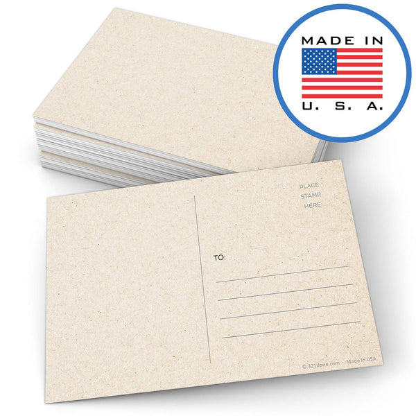 "321Done Blank Kraft Colored Postcards with Mailing Side 4"" x 6"" (Set of 50) Plain Tan Card Stock, Create Your Own for Kids - Made in USA, Large - Blue Aspen Studio"