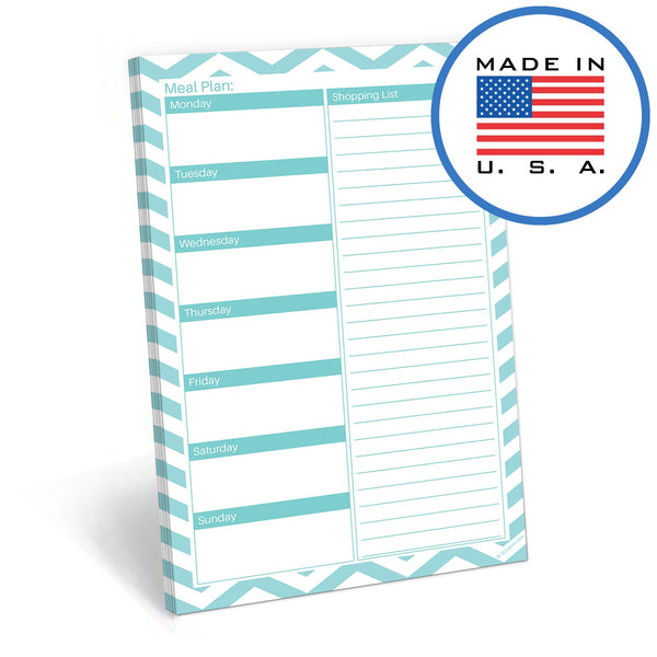 321Done Meal Planning Pad, Made in The USA,50 Sheets (5.5 x 8.5 Inches), Weekly Meals Planner Shopping List Menu Groceries Grocery List, Tear Off Notepad - Blue Aspen Studio