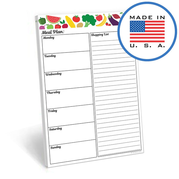 "321Done Meal Planning Pad Fruit Vegetable, Made in The USA,50 Sheets (5.5"" x 8.5""), Weekly Meals Planner Shopping List Menu Groceries Grocery List, Tear Off Notepad, Produce - Blue Aspen Studio"