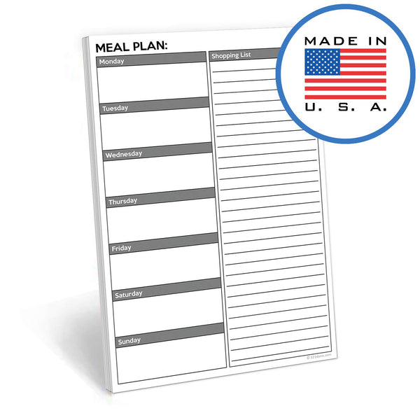 321Done Weekly Meal Planning Notepad - 50 Sheets (5.5 x 8.5 Inches) - Week Menu Planner Shopping Grocery List, Made in USA - White Gray Plain - Blue Aspen Studio