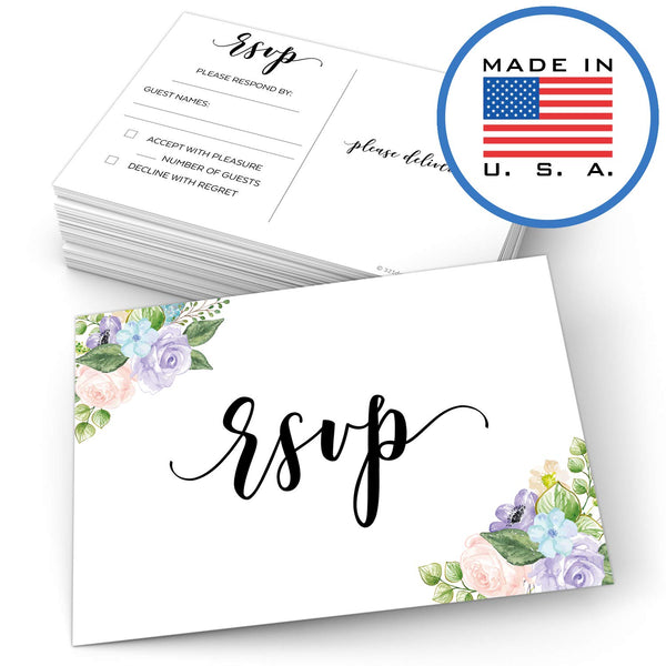 "321Done RSVP Postcards 4"" x 6"" (Set of 50) - Watercolor Floral Pastel Blank with Mailing Side, Response Cards for Wedding, Bridal Shower, Baby Shower - Made in USA, Flowers on White - Blue Aspen Studio"