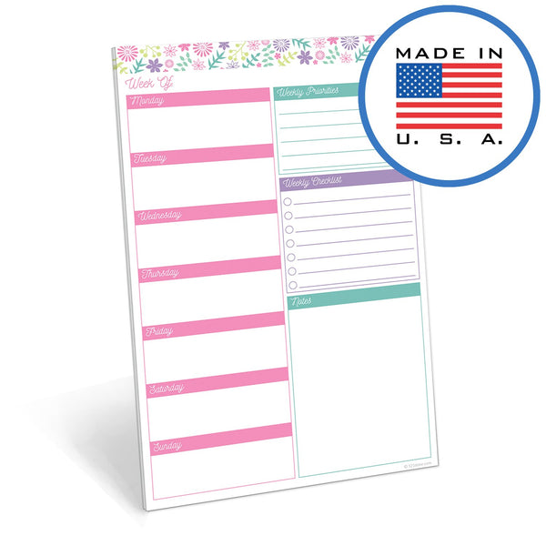 "321Done Weekly Planning Notepad, Made in The USA, 50 Sheets (5.5"" x 8.5""), Week Planner Checklist Tear Off Paper Note Pad, Flower Pastel - Blue Aspen Studio"