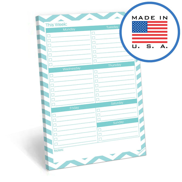 "321Done Weekly Checklist Grid to Do Planning Pad, Made in The USA, 50 Sheets (5.5"" x 8.5""), Planner ToDo Organizing Notepad, Chevron Teal - Blue Aspen Studio"