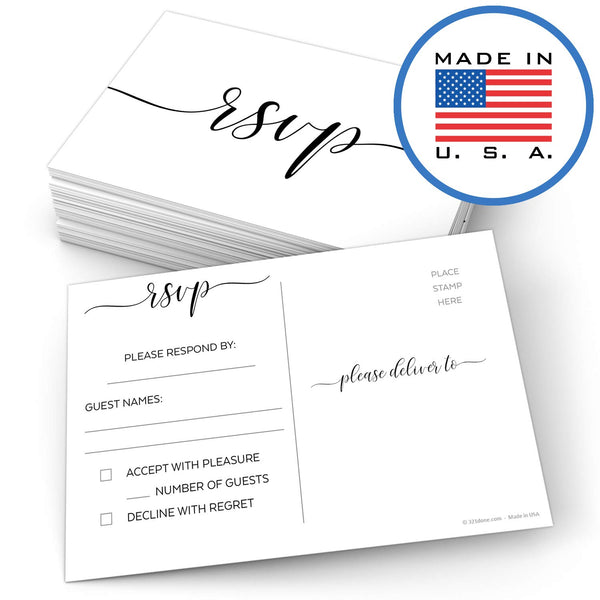 "321Done RSVP Postcards 4"" x 6"" (Set of 50) - Blank with Mailing Side, Response Cards for Wedding, Bridal Shower, Baby Shower - Made in USA, Elegant Script White - Blue Aspen Studio"