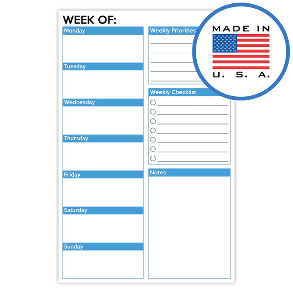 321Done Weekly Planner Pad, Made in The USA,50 Sheets (5.5 x 8.5 Inches), Week Planning to Do List Checklist Tear Off Notepad - Blue Aspen Studio