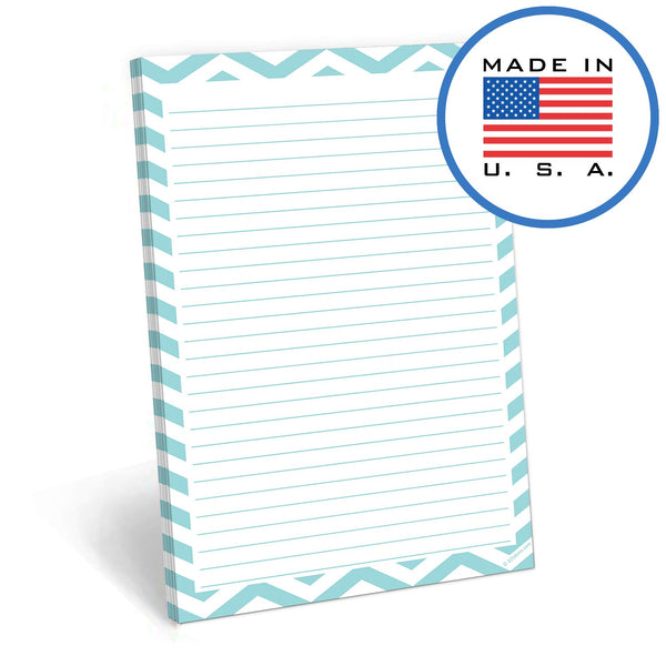 321Done Lined Notepad - 50 Sheets (5.5 x 8.5 Inches) - Writing Note Pad Lined - Thick Premium Paper - Made in USA - Teal Chevron - Blue Aspen Studio