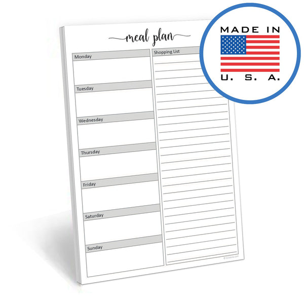 "321Done Weekly Meal Planner Notepad, 50 Sheets - 5.5"" x 8.5"", Tear Off Menu Plan Shopping List Groceries Planning Memo Pad, Made in USA, Cute Script - Blue Aspen Studio"
