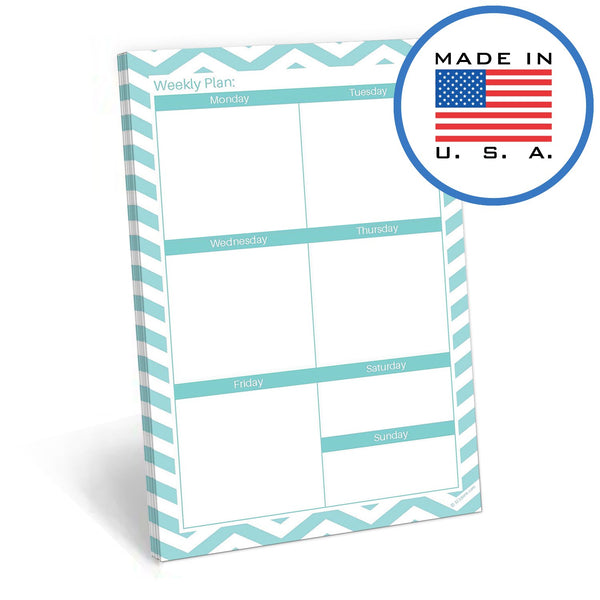"321Done This Week Blank Days of The Week Notepad, 50 Sheets - 5.5"" x 8.5"" - Weekly Boxes Glance, Planner Organizing Tear Off Pad, Made in The USA, Teal Chevron - Blue Aspen Studio"