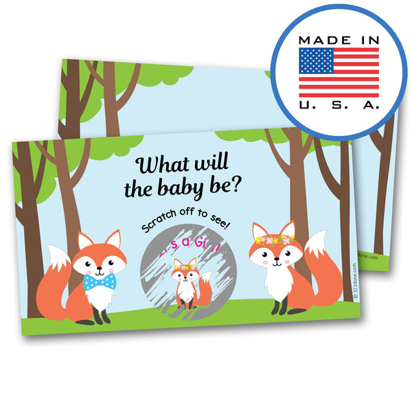 "321Done Gender Reveal Scratch Off Cards for Baby Announcement - Cute Foxes and Baby Fox Cartoon - Baby Shower, 2"" x 3.5"", Made in The USA, Fox - It's a Girl - Blue Aspen Studio"