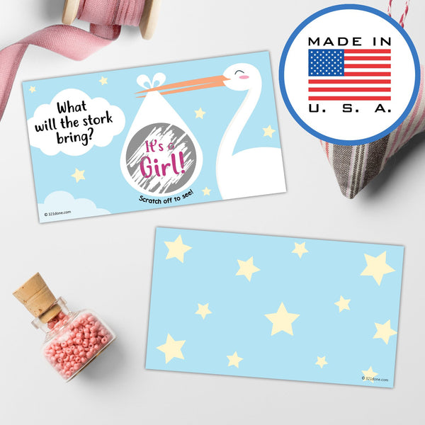 "321Done Gender Reveal Scratch Off Cards for Baby Announcement - Stork with Bundle Baby Shower, 3.5"" x 2"", Boy or Girl - Made in the USA - Set of 25 - Stork - It's a Girl - Blue Aspen Studio"
