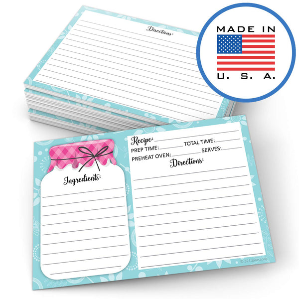 "321Done 4"" x 6"" Recipe Cards (Set of 50) - Mason Jar - Thick Double Sided Premium Card Stock - Made in USA - Rustic Pink and Teal, Large - Blue Aspen Studio"