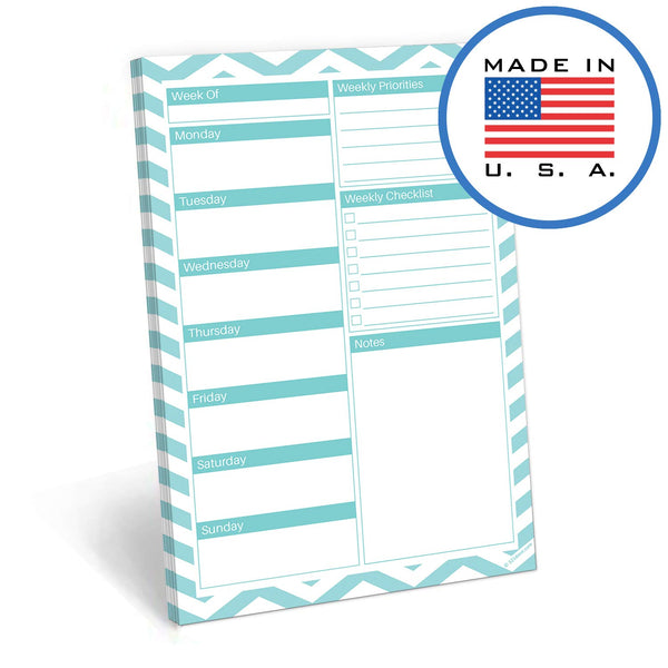 321Done Weekly Planner Pad, Made in The USA,50 Sheets (5.5 x 8.5 Inches), Week Planning to Do List Checklist Tear Off Notepad, Chevron - Blue Aspen Studio