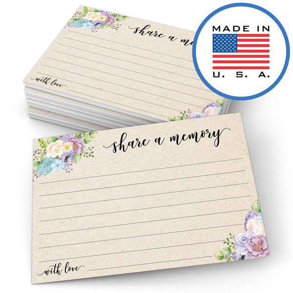 "321Done Share a Memory Card (50 Cards) 4"" x 6"" - for Celebration of Life Birthday Anniversary Memorial Funeral Graduation Bridal Shower Game - Made in USA - Tan Kraft Watercolor Floral Pastel - Blue Aspen Studio"