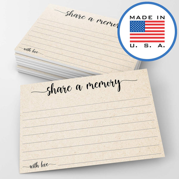 "321Done Share a Memory Card (50 Cards) 4"" x 6"" - for Celebration of Life Birthday Anniversary Memorial Funeral Graduation Bridal Shower Game - Made in USA - Tan Kraft Color - Blue Aspen Studio"