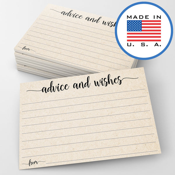 321Done Advice and Wishes Cards (Pack of 50) Blank Well Wishes for Wedding, Bridal, Mr and Mrs, Retirement, Baby Shower - Words of Wisdom - Made in USA, Tan Kraft Look - Blue Aspen Studio