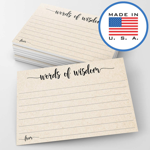 "321Done Words of Wisdom Card (50 Cards) 4"" x 6"" - Blank Advice Cards for Wedding Bridal Shower Baby Shower Mr and Mrs Bride and Groom Graduation - Made in USA - Tan Kraft Color - Blue Aspen Studio"
