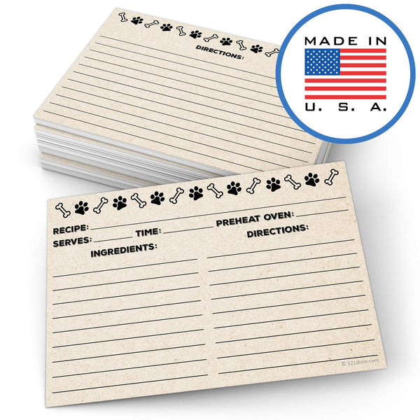 321Done Pet Recipe Cards (Set of 50) for Dogs - Thick Double Sided Premium Card Stock - Made in USA - Paw Prints and Bones Tan Kraft Color - Blue Aspen Studio