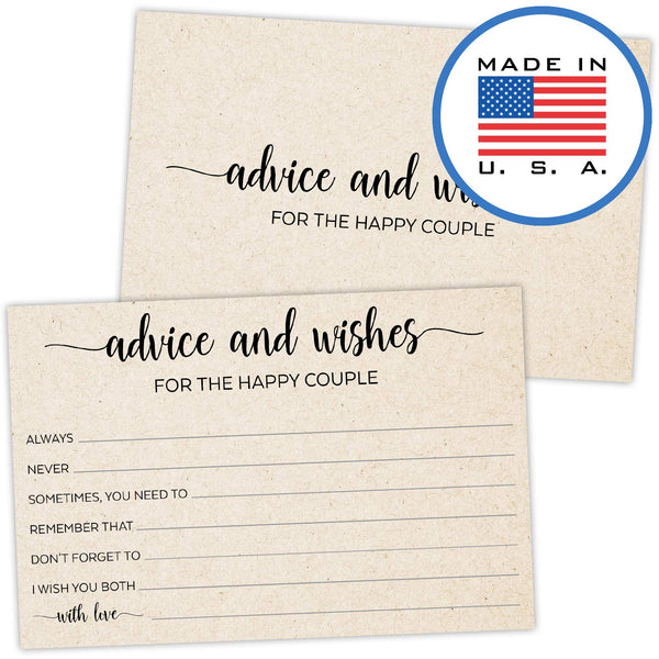 321Done Advice and Wishes for The Happy Couple Cards (Pack of 50) for Wedding with Prompts Simple Elegant - Made in USA, Tan Kraft Color - Blue Aspen Studio