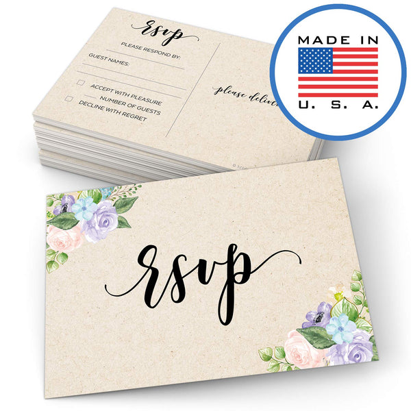 "321Done RSVP Postcards 4"" x 6"" (Set of 50) - Watercolor Floral Pastel Blank with Mailing Side, Response Cards for Wedding, Bridal Shower, Baby Shower - Made in USA, Tan Kraft Look Cardstock - Blue Aspen Studio"