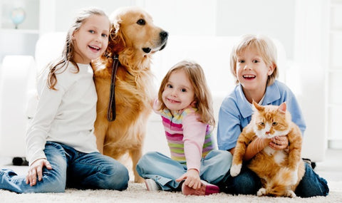 family with cat and dog