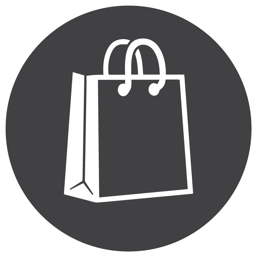 shopping bag icon, white and grey