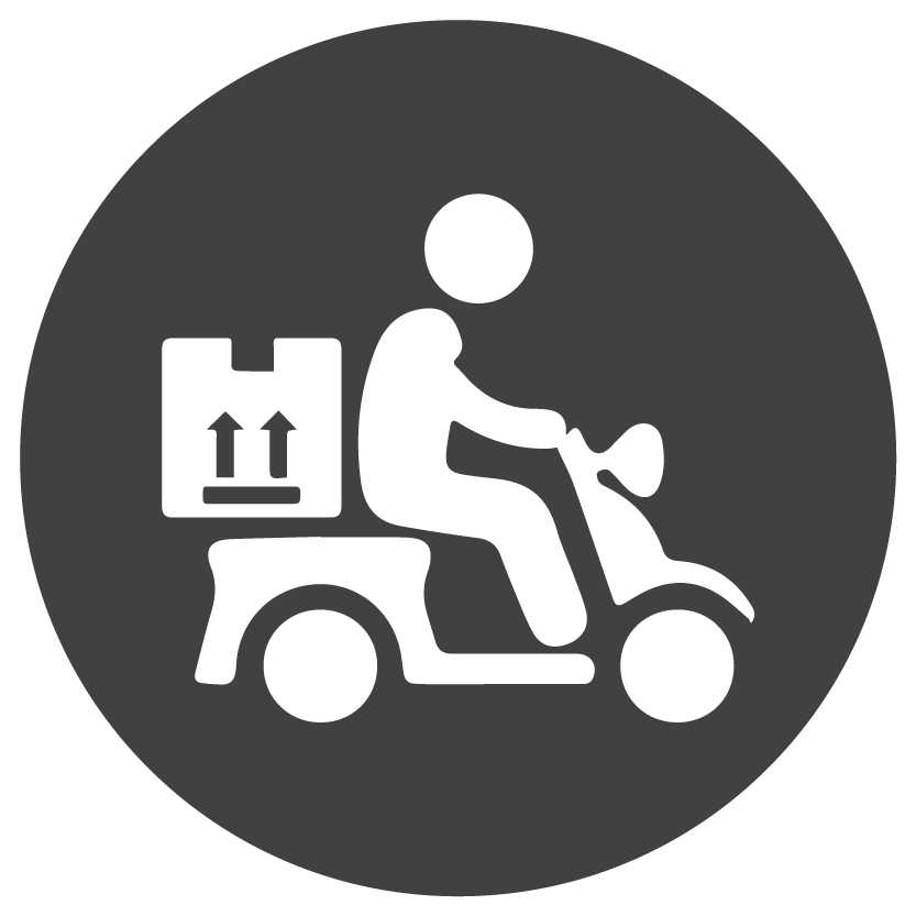 Delivery icon, grey and white